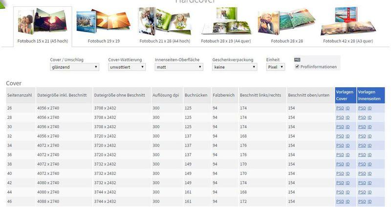 Photoshop- und InDesign-Vorlagen für Fotobücher